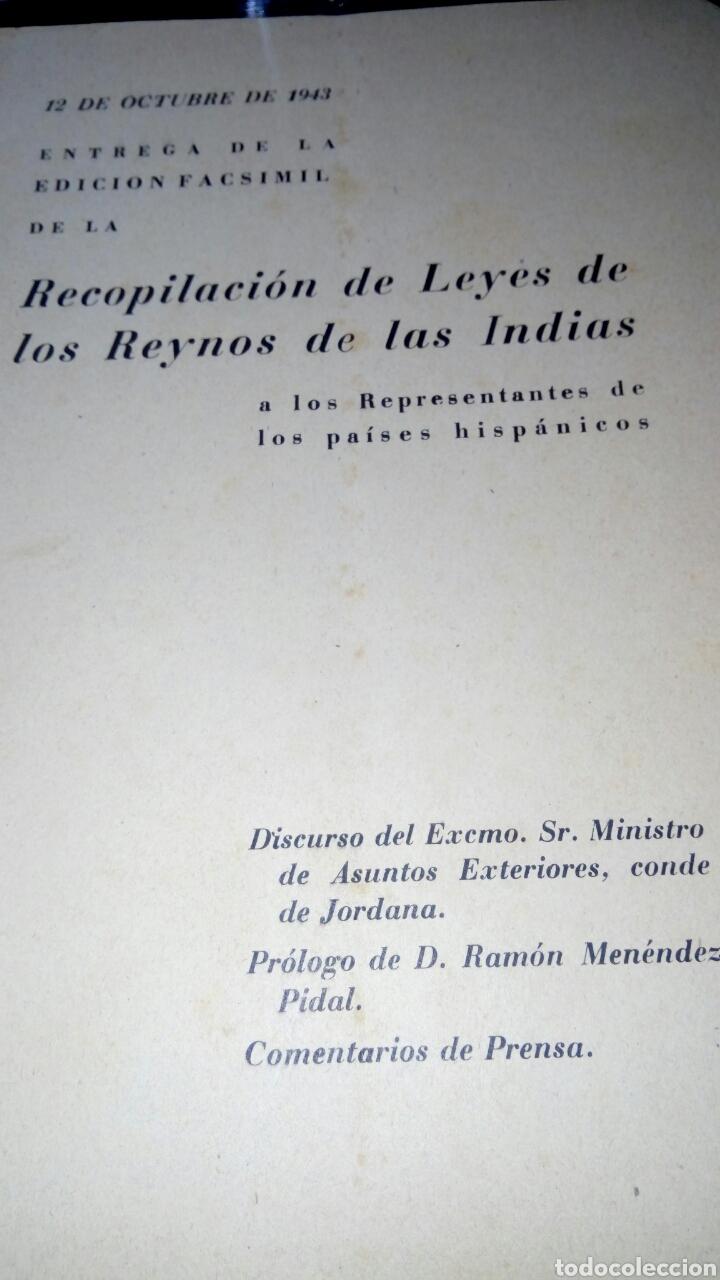 RECOPILACIÓN DE LAS LEYES DE LOS REYNOS DE LAS INDIAS (Libros de Segunda Mano - Historia Antigua)