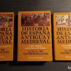 Libros de segunda mano: HISTORIA DE ESPAÑA ANTIGUA Y MEDIEVAL. LUIS G. DE VALDEAVELLANO . ALIANZA EDITORIAL. . Lote 178250647