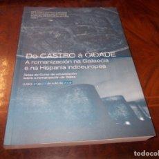 Libros de segunda mano: DO CASTRO Á CIDADE, A ROMANIZACIÓN NA GALLAECIA E NA HISPANIA INDOEUROPEA. 2.008 EN GALLEGO. Lote 179146900