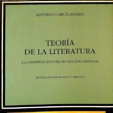 Libros de segunda mano: TEORÍA DE LA LITERATURA. Lote 180268085