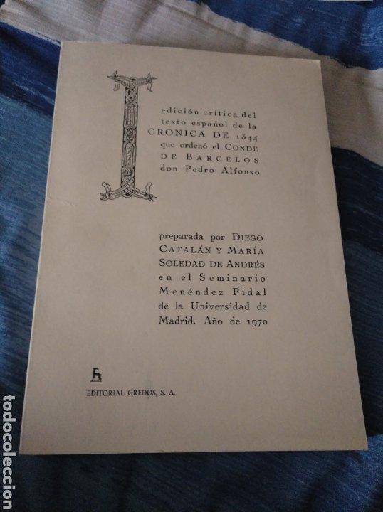 CRONICA DE 1344 QUE ORDENO EL CONDE DE BARCELOS. VARIOS. GREDOS, 1971 (Libros de Segunda Mano - Historia Antigua)