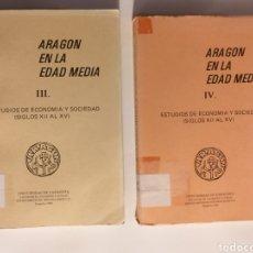 Libros de segunda mano: ARAGÓN EN LA EDAD MEDIA TOMOS III IV . ESTUDIOS DE ECONOMÍA Y SOCIEDAD . . . TEMAS ARAGONESES. Lote 187468138