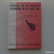 Libros de segunda mano: LIBRERIA GHOTICA. ALFONS CUCO. ASPECTES DE LA POLÍTICA VALENCIANA EN EL SEGLE XIX. 1965. Lote 194887178