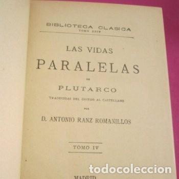 Libros de segunda mano: LAS VIDAS PARALELAS PLUTARCO 5 TOMOS COMPLETA BIBLIOTECA CLASICA 1911 EB2 - Foto 6 - 194961971