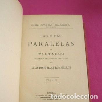 Libros de segunda mano: LAS VIDAS PARALELAS PLUTARCO 5 TOMOS COMPLETA BIBLIOTECA CLASICA 1911 EB2 - Foto 8 - 194961971