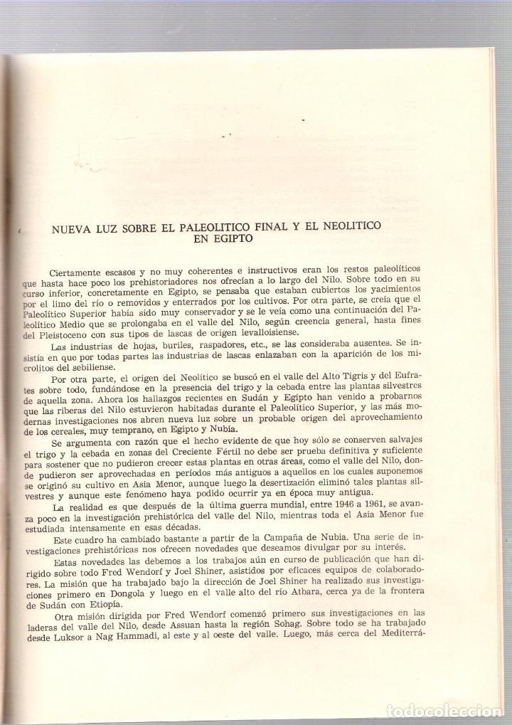 Libros de segunda mano: NUEVA LUZ SOBRE EL PALEOLITICO FINAL Y EL NEOLITICO EN EGIPTO. MARTIN ALMAGRO BASCH. 1972 - Foto 2 - 195378407