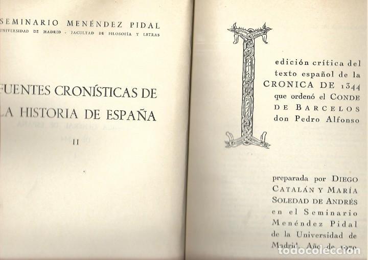 Libros de segunda mano: LIBRO SEMINARIO MENENDEZ PIDAL CRONICAS DE 1344 - 358 PAGINAS - Foto 2 - 197844998