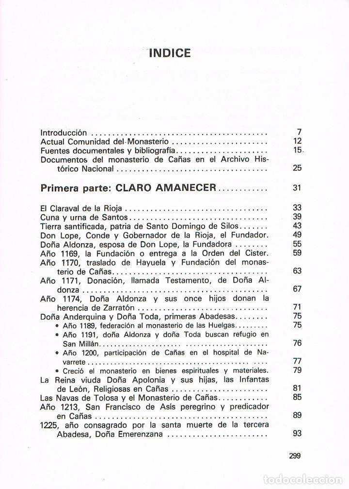 Libros de segunda mano: Real Monasterio de Cañas. Nueve siglos de fidelidad, Ver indice - Foto 3 - 212592380
