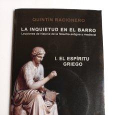 Libri di seconda mano: LA INQUIETUD EN EL BARRO . LECCIONES DE HISTORIA DE LA FILOSOFÍA ANTIGUA Y MEDIEVAL. Lote 213393232