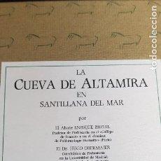 Libros de segunda mano: LA CUEVA DE ALTAMIRA SANTILLANA DEL MAR,ENRIQUE BREUIL,JOSE PEREZ DE BARRADAS ED.LIMITADA NUMERADA. Lote 222652927