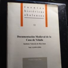 Libros de segunda mano: DOCUMENTACIÓN MEDIEVAL DE LA CASA LOS VELADA VL I 1193-1393 FAUSTINA LÓPEZ PITA AVILA DEDICADO. Lote 230402805