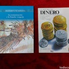 Libros de segunda mano: LA HISTORIA DEL DINERO EDICIONES PLESA-HISTORIA DE ESPAÑA LA ROMANIZACION Y LA ESPAÑA VISIGODA FOLIO. Lote 234020880
