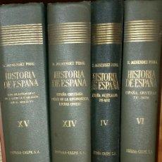Libros de segunda mano: HISTORIA DE ESPAÑA - MENENDEZ PIDAL TOMOS IV, VI,XIV Y XV ESPASA CALPE. Lote 241968865