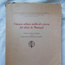 Libros de segunda mano: VALENCIA URBANA MEDIEVAL A TRAVÉS DEL OFICIO DE MUSTAÇAF. 1957 SEVILLANO COLOM FRANCISCO. Lote 243208460