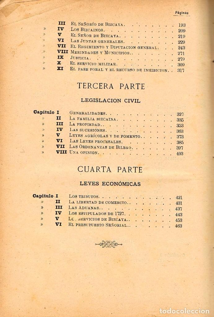 Libros de segunda mano: El señorio de Vizcaya historico y foral por Aristides de Artiñano,año 1885, encuadernación lomo piel - Foto 5 - 245572190