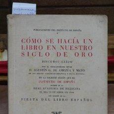 Libros de segunda mano: DE AMEZUA Y MAYO AGUSTIN G. COMO SE HACIA UN LIBRO EN NUESTRO SIGLO DE ORO.. Lote 269044983