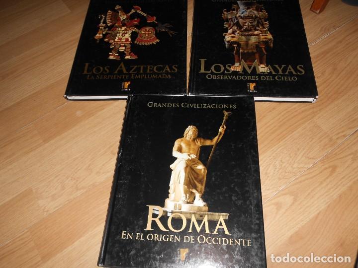 LOTE 3 GRANDES CIVILIZACIONES, LOS AZTECAS, LOS MAYAS Y ROMA - ED. RUEDA. ILUSTRADOS. TENGO + LIBROS (Libros de Segunda Mano - Historia Antigua)