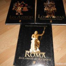 Libros de segunda mano: LOTE 3 GRANDES CIVILIZACIONES, LOS AZTECAS, LOS MAYAS Y ROMA - ED. RUEDA. ILUSTRADOS. TENGO + LIBROS. Lote 269347343