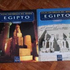 Libros de segunda mano: ATLAS CULTURALES DEL MUNDO EGIPTO VOLUMEN I Y II + PAPIRO. Lote 274336973