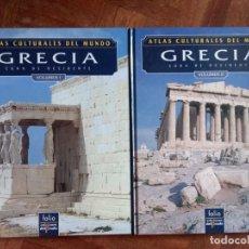 Libros de segunda mano: ATLAS CULTURALES DEL MUNDO GRECIA VOLUMEN I Y II + POSTALES. Lote 275068068