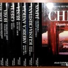 Libros de segunda mano: COLECCION 12 ATLAS DEL MUNDO. GRECIA. ROMA. EGIPTO. CHINA. JAPON. AFRICA. ..... COMO NUEVA.. Lote 283843598