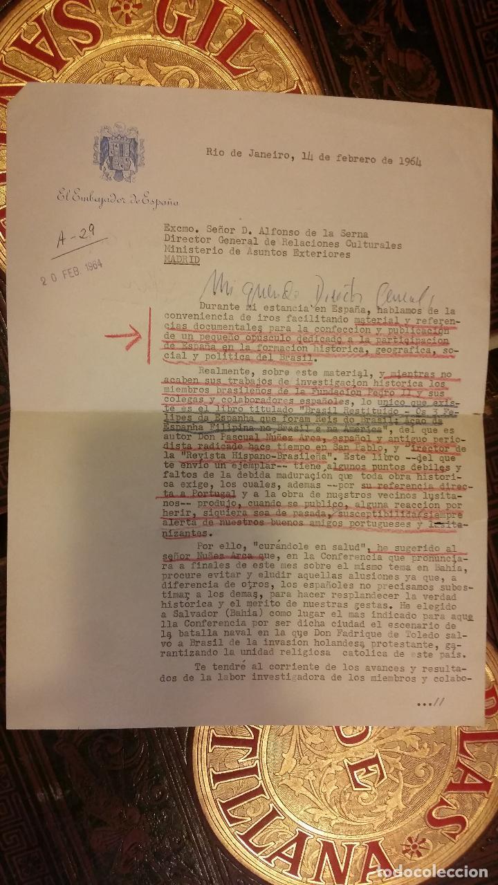 Libros de segunda mano: 1957 - NUÑEZ ARCA. Brasil restituido. Os 3 Felipes da Espanha que foram Reis do Brasil + CARTA - Foto 4 - 285311853