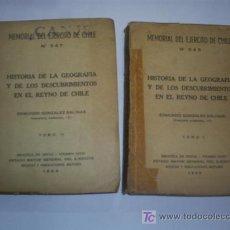 Libros de segunda mano: HISTORIA DE LA GEOGRAFÍA Y DESCUBRIMIENTOS EN REYNO DE CHILE I Y II EDMUNDO GONZÁLEZ SALINAS RM43371. Lote 27437435