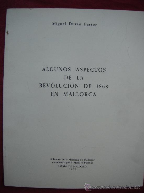 ALGUNOS ASPECTOS DE LA REVOLUCION 1968 EN MALLORCA - MIGUEL DURAN PASTOR (Libros de Segunda Mano - Historia Moderna)