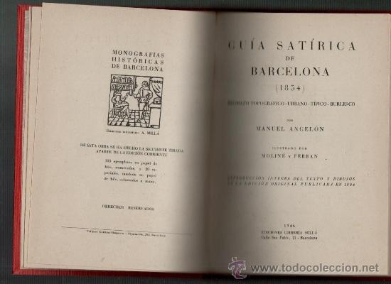 Libros de segunda mano: manuel angelon guia satirica de barcelona (1854) barcelona 1946 - Foto 2 - 35292557