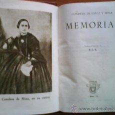 Libros de segunda mano: 1ª EDICIÓN 1944 MEMORIAS - CONDESA ESPOZ Y MINA / CRISOL 76. Lote 37930223
