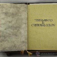 Libros de segunda mano: 3636-TESTAMENTO DE CRISTOBAL COLON. ANGEL ARIAS. EDIT ANAEL. 1991.. Lote 38467167