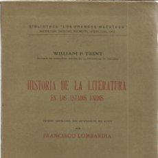 Libros de segunda mano: HISTORIA DE LA LITERATURA EN LOS ESTADO UNIDOS. FRANCISCO LOMBARDIA. SOCIEDAD ESPAÑOLA DE LIBRERÍA. . Lote 40680141