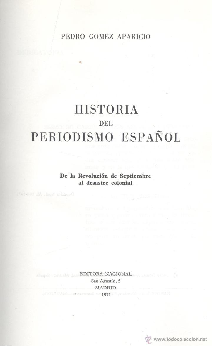 Libros de segunda mano: Pedro Gómez Aparicio. Historia del periodismo español. 3 tomos. Madrid, 1971. - Foto 2 - 41002085