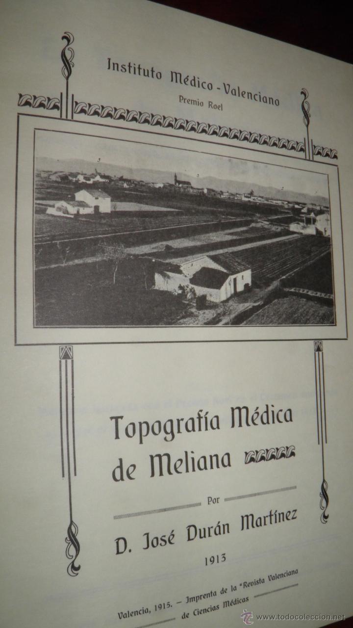 Topografia medica de meliana valencia 1913 19 comprar - Libreria segunda mano valencia ...