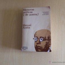 Libros de segunda mano: MANUEL HAZAÑA--MEMORIAS POLITICAS Y DE GUERRA-. Lote 45709338