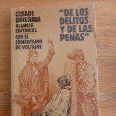 Libros de segunda mano: DE LOS DELITOS Y LAS FALTAS. CESARE BECCARIA. ALIANZA ED. 1993 192 PAG. Lote 48091945