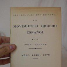 Libros de segunda mano: LIBRITO HISTORIA DEL MOVIMIENTO OBRERO ESPAÑOL 1939 - 1970, CNT, HECHO EN EXILIO . Lote 48482833