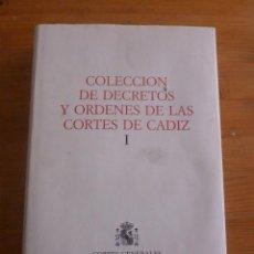 Libros de segunda mano: COLECCION DE DECRETOS Y ORGENES DE LAS CORTES DE CADIZ. CORTES GENERALES. 2.VOL. 1987 1088 PAG. Lote 50019427