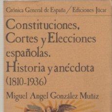 Libros de segunda mano: GONZÁLEZ MUÑIZ, MIGUEL ÁNGEL : CONSTITUCIONES, CORTES Y ELECCIONES ESPAÑOLAS. HISTORIA Y ANÉCDOTA (1. Lote 52137960