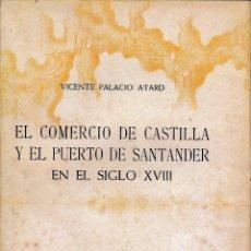 Libros de segunda mano: EL COMERCIO DE CASTILLA Y EL PUERTO DE SANTANDER EN EL SIGLO XVIII (V. PALACIO 1960) SIN USAR. Lote 54949000