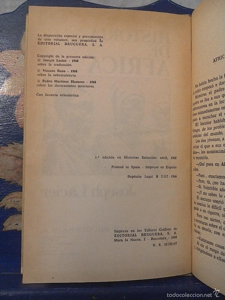 Libros de segunda mano: HISTORIA DE AFRICA - JOSEPH LACIER - COLECCION HISTORIAS SELECCION - BRUGUERA. 1968. PRIMERA EDICION - Foto 2 - 56692882