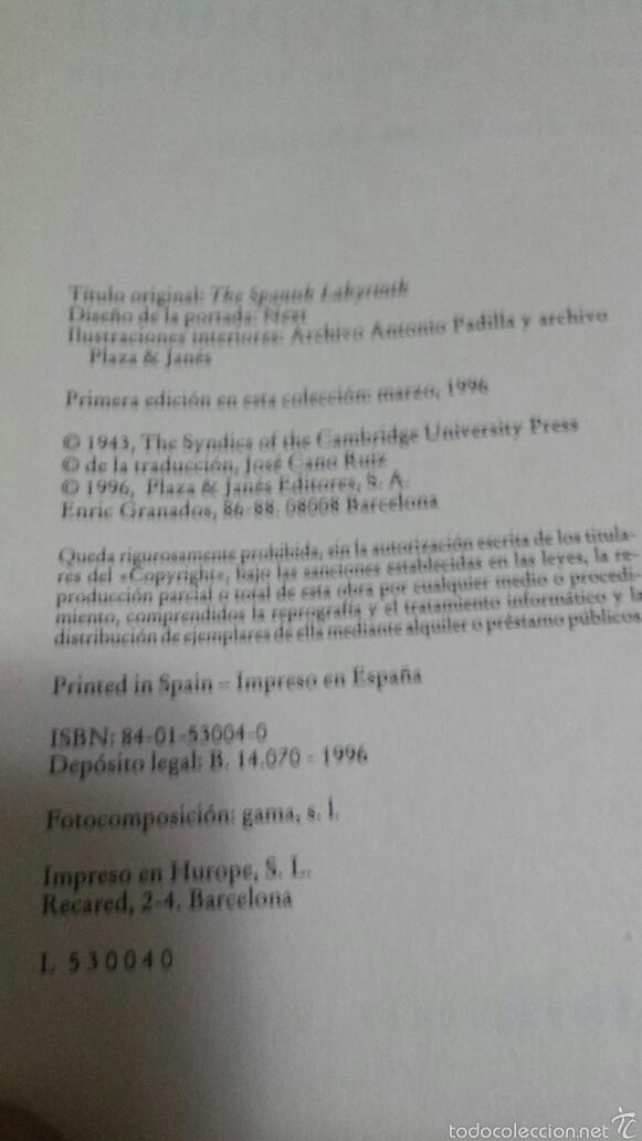 Libros de segunda mano: EL LABERINTO ESPAÑOL - GERALD BRENAN - PLAZA Y JANÉS AÑO 1996 - Foto 3 - 58354306