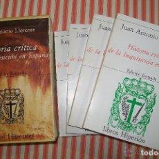 Libros de segunda mano: HISTORIA CRITICA DE LA INQUISICION EN ESPAÑA, JUAN ANTONIO LLORENTE, 4 LIBROS, 1980. Lote 67438825