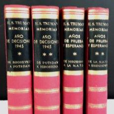 Libros de segunda mano: EDITORIAL VERGARA. MEMORIAS. 4 TOMOS. (VER DESCRIPCIÓN). HARRY S. TRUMAN. 1956.. Lote 79141085