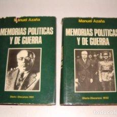 Libros de segunda mano: MANUEL AZAÑA. OBRAS ESCOGIDAS. MEMORIAS POLÍTICAS Y DE GUERRA. TOMOS I Y II. DOS TOMOS. RM80239. . Lote 157282086
