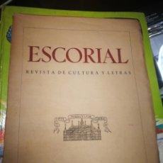 Libros de segunda mano: ESCORIAL. REVISTA DE CULTURA Y LETRAS. VOLUMEN 5° SOLO 100 EJEMPLARES.. Lote 101232986