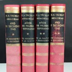 Libros de segunda mano: MEMORIAS. 4 TOMOS. HARRY S. TRUMAN. EDITORIAL VERGARA. 1956.. Lote 101278523
