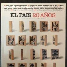 Libros de segunda mano: EL PAÍS 20 AÑOS - EL PAÍS SEMANAL, 1023, NÚMERO EXTRA 5 DE MAYO 1996. Lote 113177515