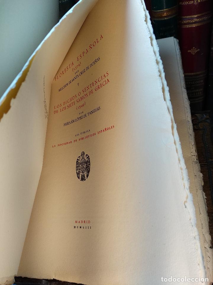 Libros de segunda mano: FLORESTA ESPAÑOLA(1574) - MELCHOR DE SANTA CRUZ DE DUEÑAS Y LOS DICHOS O SENTENCIAS DE LOS SIETE SAB - Foto 2 - 117980567