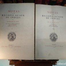 Libros de segunda mano: NOTAS A LA RECOPILACIÓN DE INDIAS - MANUEL JOSEF DE AYALA - COL. INCUNABLES AMERICANOS - 1945 - MADR. Lote 118009899